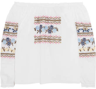Needle & Thread - Off-the-shoulder Embroidered Cotton-poplin Blouse - White $225 thestylecure.com