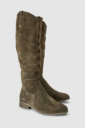 Next Womens Khaki Knee High Suede Boots