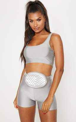 PrettyLittleThing Silver Chevron Quilted Bum Bag