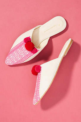 Anthropologie Pommed Embroidered Slides