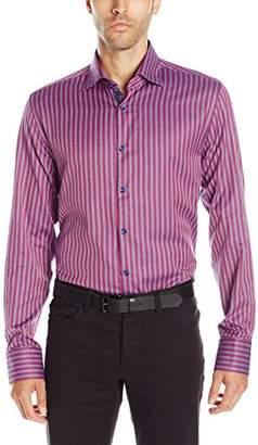 Stone Rose Men's Birdseye Vertical Stripe Long Sleeve Button Down Shirt