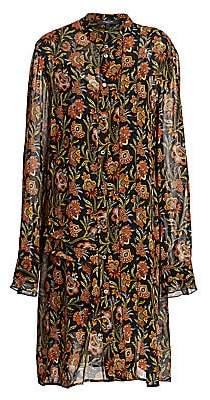 Derek Lam Women's Floral Pleat-Sleeve Silk Midi Shirtdress