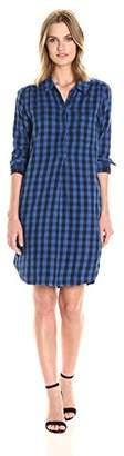 Sundry Women's Double Side Plaid Henley Shirt Dress