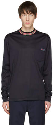Lanvin Blue Long Sleeve Multicolor Mock Neck T-Shirt