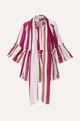 Yvonne S Angelica Ruffled Striped Linen Tunic - Burgundy