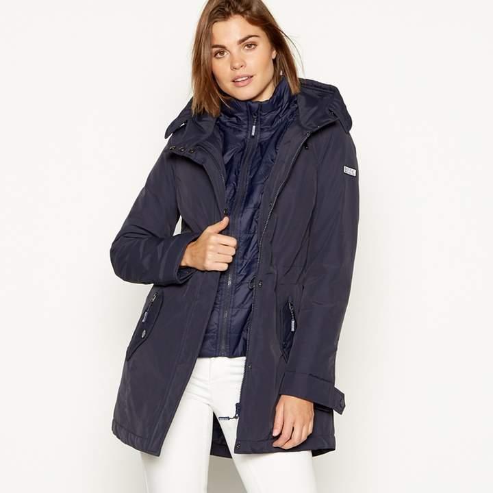 MAINE Navy Padded Waterproof Hooded Coat