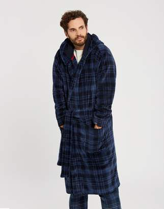 Joules Clothing Large Navy Check Cosytime Hooded Dressing Gown