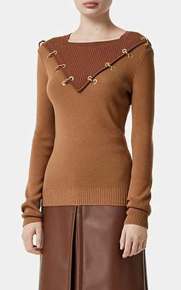 Burberry Women's Ring-Embellished Colorblocked Sweater - Camel
