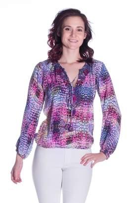 Sabrina Taj By Crippa Multi-Print Silk Blouse