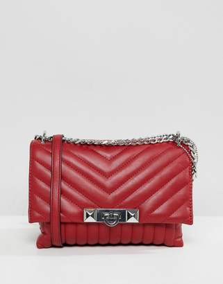 Aldo Abilanel Red Quilted Cross Body Bag With Studding