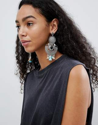 Asos Design Statement Enamel And Stone Disc Tassel Drop Earrings