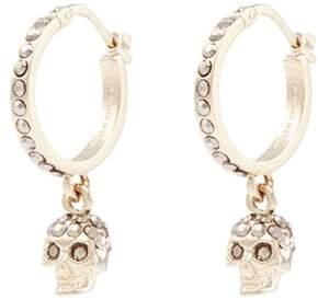Alexander McQueen Swarovski crystal skull drop hoop earrings