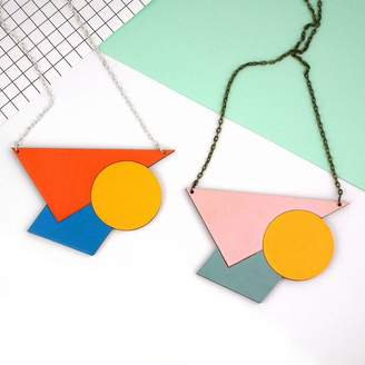 Red Paper House Statement Geometric Necklace