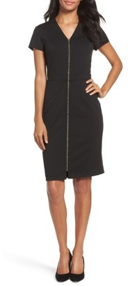 Petite Women's Ellen Tracy Zip Front Sheath Dress $118 thestylecure.com