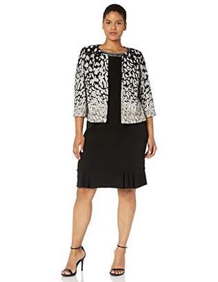 Maya Brooke Women's Animal Print Embellished Neckline Jacket Dress