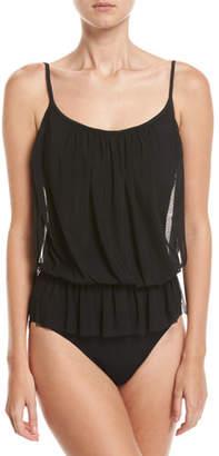 Gottex Lattice Bandeau Blouson One-Piece Swimsuit, Black