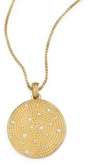 David Yurman Cable Coil Pendant with Diamonds in Gold on Chain