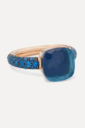 Pomellato Nudo 18-karat Rose And White-gold, Lapis Lazuli And Topaz Ring - Rose gold