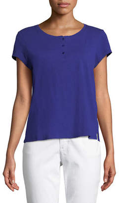 Eileen Fisher Cap-Sleeve Slubby Organic Cotton Jersey Tee, Petite