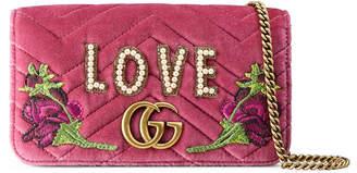 Gucci GG Marmont embroidered velvet mini bag