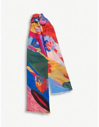 Begg & Co. x John Booth Rainbow Garden cashmere scarf