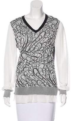 Prabal Gurung Silk-Trimmed Intarsia Top