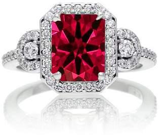 JeenJewels 1.5 Carat Emerald Cut Three Stone Ruby Halo Diamond Ring on 10k White Gold