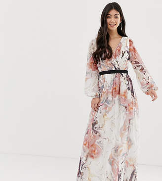 Little Mistress Petite plunge front long sleeve maxi dress in floral print