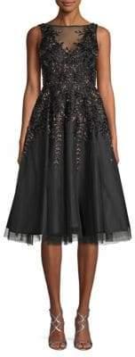 Aidan Mattox Embellished Illusion Flare Dress