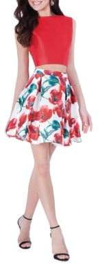 Terani Couture Glamour by Two-Piece Floral-Print Top & Skirt Set