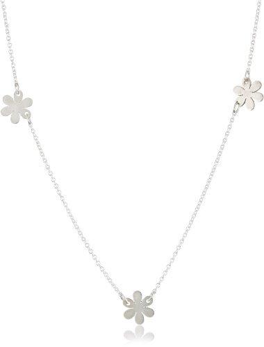 "Jane Hollinger Daisy Chain"" Sterling Silver Triple Flower Necklace"