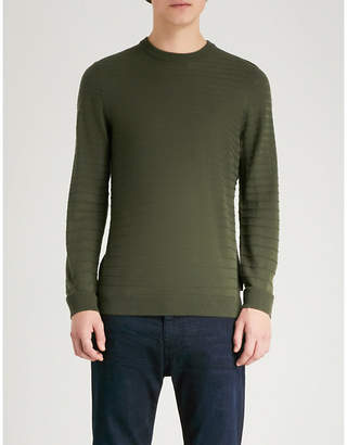 Emporio Armani Ottoman-knit wool-blend jumper
