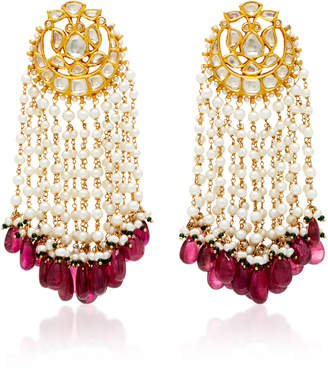 Sanjay Kasliwal Pearl And Tourmaline Fringe Earrings