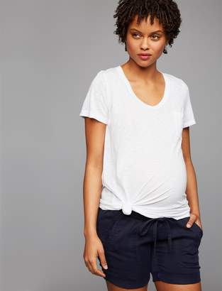 A Pea in the Pod Under Belly Drawstring Maternity Shorts