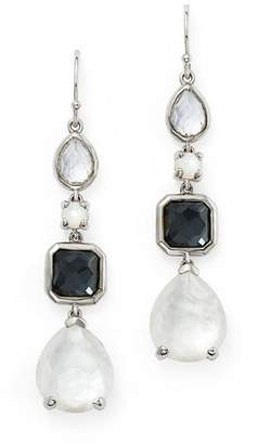 Ippolita Sterling Silver Rock Candy® Mother-of-Pearl Doublet, Hematite Doublet & Clear Quartz Linear Drop Earrings in Piazza