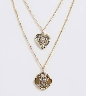 Reclaimed Vintage inspired multi row heart and roman medallion necklace