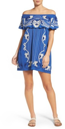 Women's Red Carter Off The Shoulder Cover-Up Dress $250 thestylecure.com