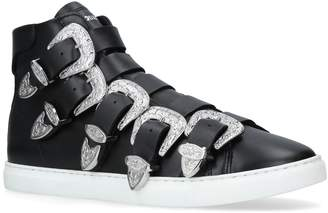 DSQUARED2 Leather Buckle High-Top Sneakers
