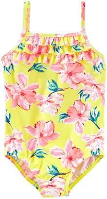 Osh Kosh Oshkosh Bgosh Girls 4-8 Yellow Floral One-Piece Swimsuit