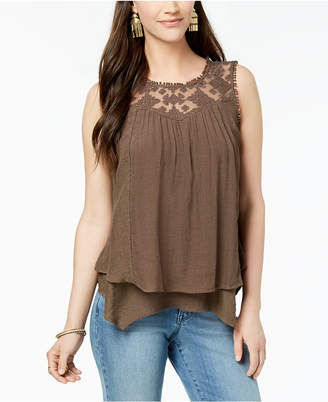 Style&Co. Style & Co Petite Layered-Hem Lace-Trim Top, Created for Macy's