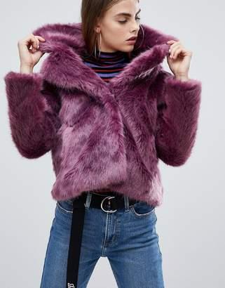 Bershka fur short jacket in purple