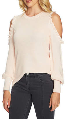 1 STATE Ruffle Cold Shoulder Sweater