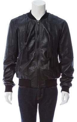 Marcelo Burlon County of Milan Lambskin Leather Jacket