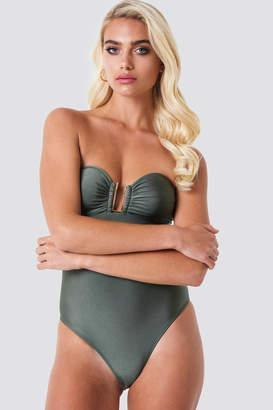 Na Kd Swimwear Shiny Metal Detail Bandeau Swimsuit Khaki Green