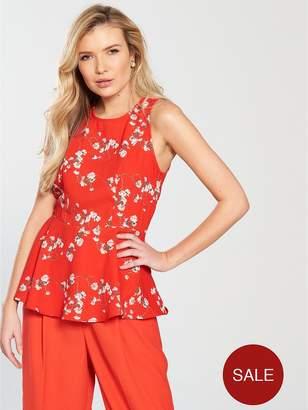 Vero Moda Lala Sleeveless Midi Top With Asymmetrical Hem - Poppy Red