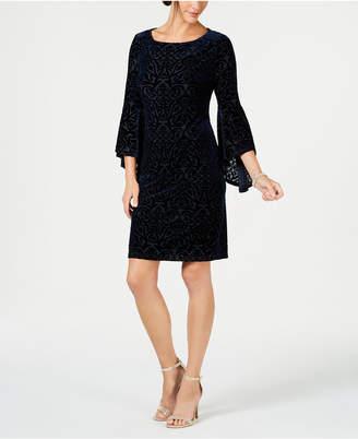 Jessica Howard Petite Flocked Velvet Shift Dress