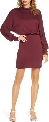 Fraiche by J Turtleneck Long Sleeve Blouson Knit Dress