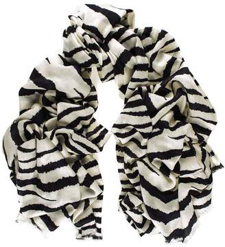 Black Zebra Print Silk and Merino Wool Scarf