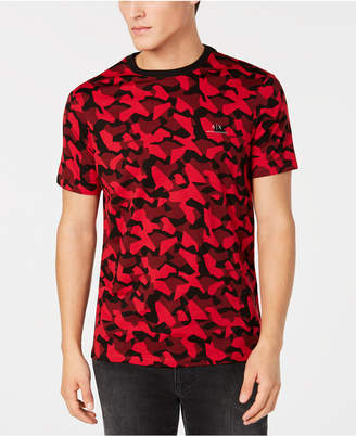 Armani Exchange Men's Red & Black Camo T-Shirt