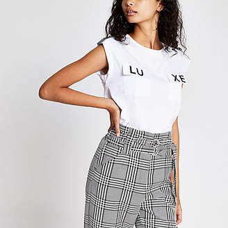 River Island White 'Luxe' pocket T-shirt